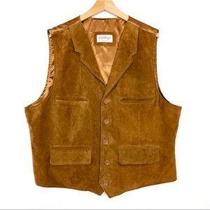 Vintage brown suede vest camel tan boho western